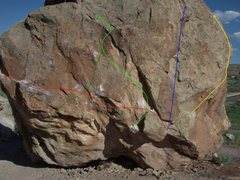 Rock Climbing Photo: West Side of Diamond Boulder - route guide pic.