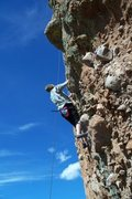 Rock Climbing Photo: Charlie Magill works his way up Pirate in Paradise...
