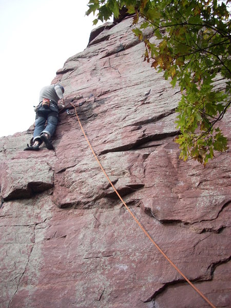 Rock Climbing Photo: Rhoads on lead, very thankful for some pro!