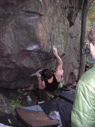 Rock Climbing Photo: Sweaty sticking the crux move.