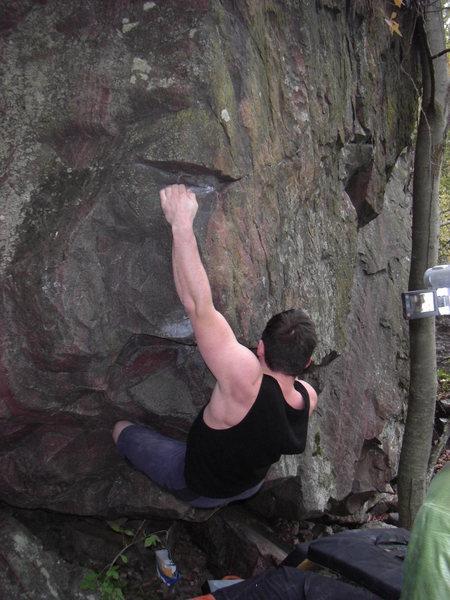 Rock Climbing Photo: Sweaty sticking the thank-God-jug.