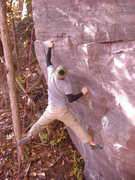 Rock Climbing Photo: Steve coming so close to sticking the crux.