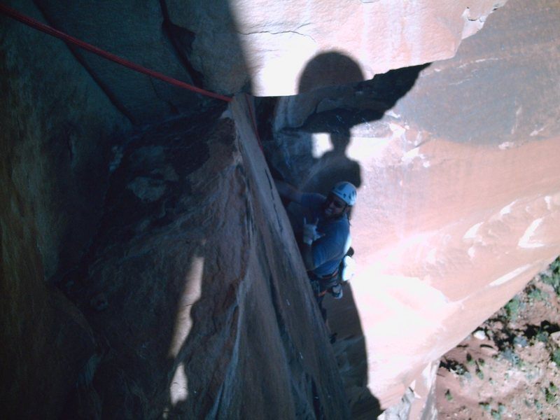Rock Climbing Photo: Glen just before the traverse on pitch #4.