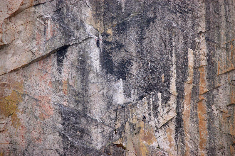 Rock Climbing Photo: At the last hard move on P2.  Photo by Ian Desberg...
