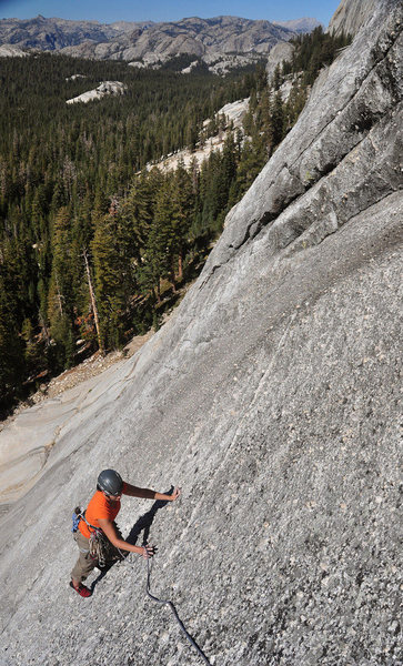 Near the top of pitch 2.  The bolt she just unclipped is hard to see from below.