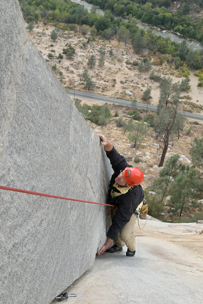 Michael McKay climbs the Lieback (5.8), the true classic of Kernville Rock.