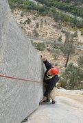 Rock Climbing Photo: Michael McKay climbs the Lieback (5.8), the true c...