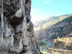 Rock Climbing Photo: At the roof, on Kor's Corner, October 09.  Great r...