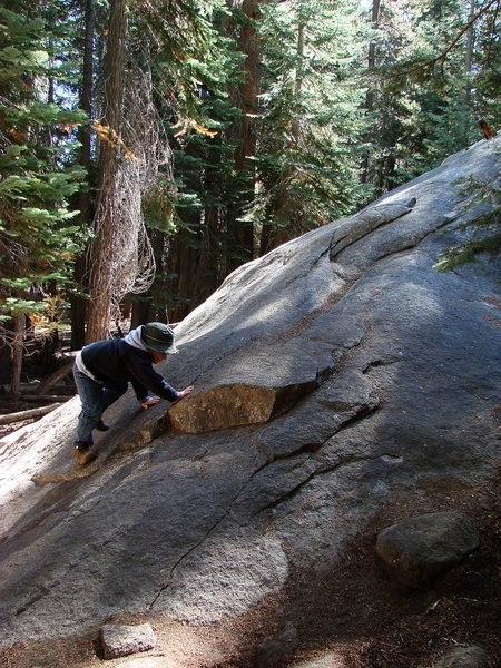 The boy learning to slab climb near Glacier Point, Yosemite.  Sept 09.