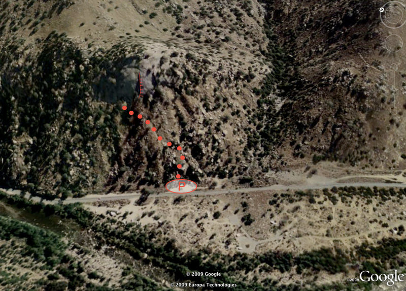Aerial view of the parking and approach trail for Kernville Crag (with the main dihedral shown).