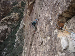 Rock Climbing Photo: Vaino Kodas, coming across the p3 traverse