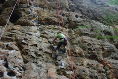 Rock Climbing Photo: Kianna working Sunshine. A good name for her also.