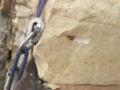Rock Climbing Photo: The rock has broken away from one of the bolts fro...
