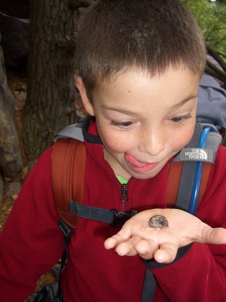 Sam and his slug.  Devils Lake, WI