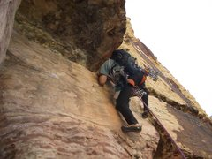 Rock Climbing Photo: Tunnel Vision, P1 traverse. Red Rock