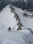 Rock Climbing Photo: Classic snow climbing on the upper ridge with Hogu...