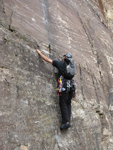 Rock Climbing Photo: Jonny placing a nut on lead. WF's- pitch one.  10/...