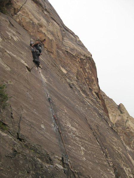 Rock Climbing Photo: Jonny higher up the crack after a few roller skati...