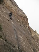 Rock Climbing Photo: Jonny higher up the crack after a few roller skati...