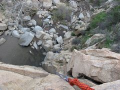 From the ledge, looking down.  This was taken from a TR I set up for the 5.7, but the view down is the same for both routes.