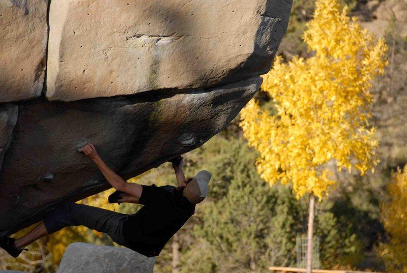 Rock Climbing Photo: V2 prow problem on park boulder.
