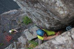 Rock Climbing Photo: me leading thrombus Photo:Taylor Krosbakken