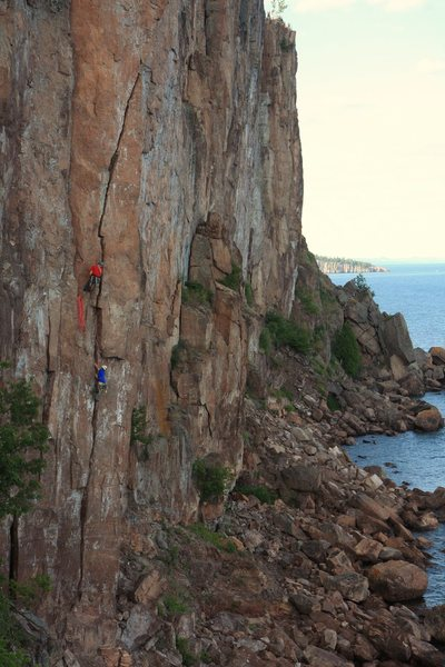 yep theres multi pitch climbing here in mn. me and my brother on laceration jam 5.10b.<br> Photo: Taylor Krosbakken