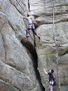 Rock Climbing Photo: Stance just before taking a fall on a 5.8... littl...