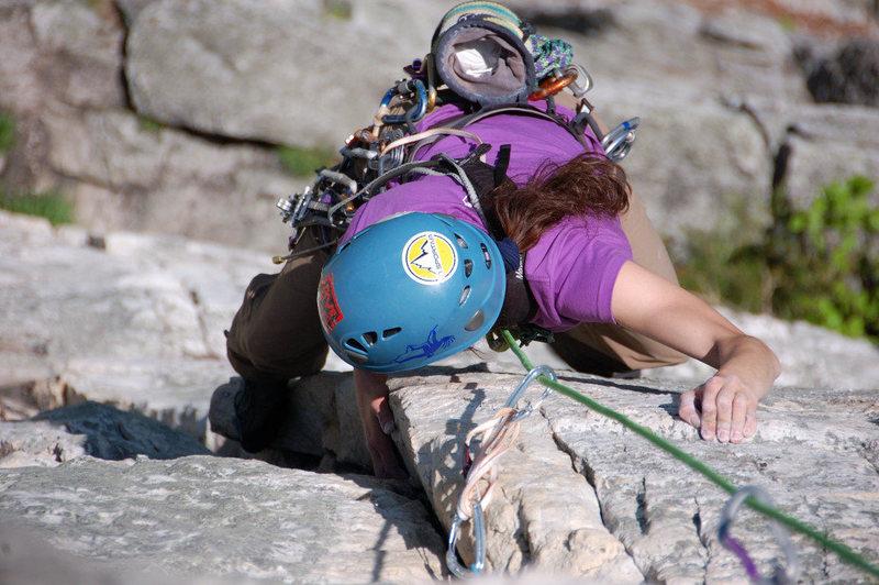 Rock Climbing Photo: Laura Hahn seconding Alcoa Presents at Sececa Rock...