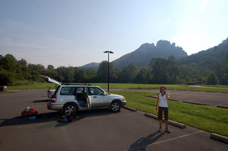 Laura her car and our gear on an incredible summer morning at Seneca Rocks, WV