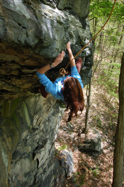 The worlds best partner taking a lap on Her commiting route, Arachnophobia 5.10d School House Crag, Ohiopyle State Park, PA