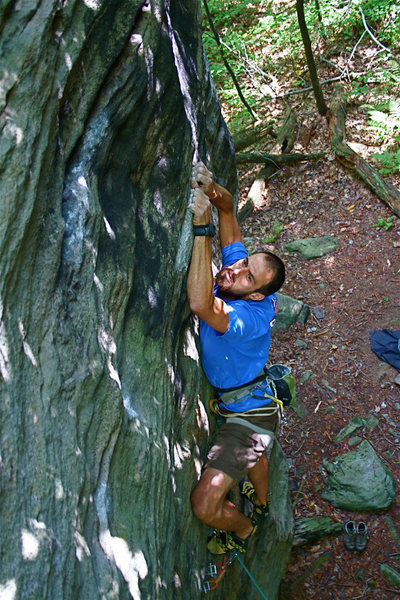 Sticking the sloping rails for my redpoint of Gagging on the Shag 5.11c/d  2008 at The Knobs, Southwestern PA