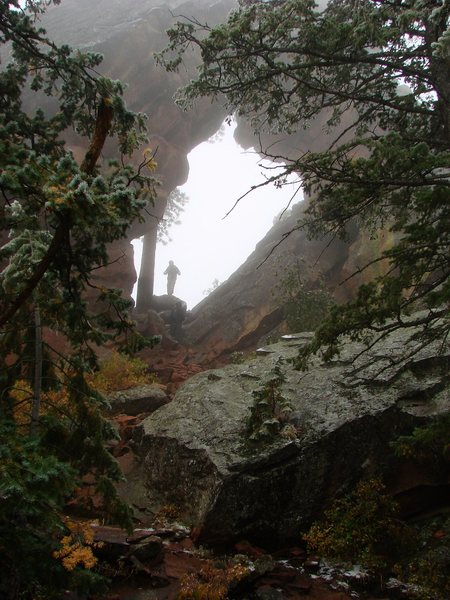 Royal Arch in the freezing drizzle and fog, October 09.  Not a bad way to spend a rest day.