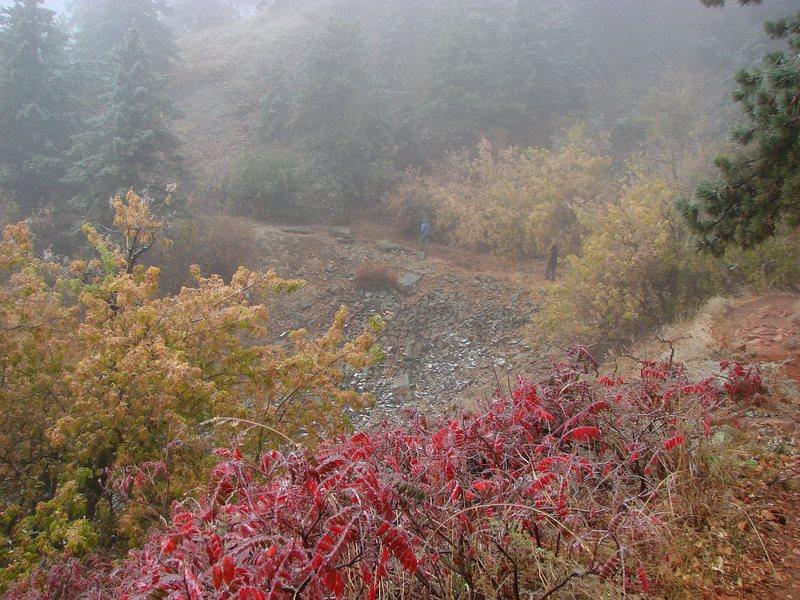 Rock Climbing Photo: Hiking around the Flatirons in the freezing rain, ...