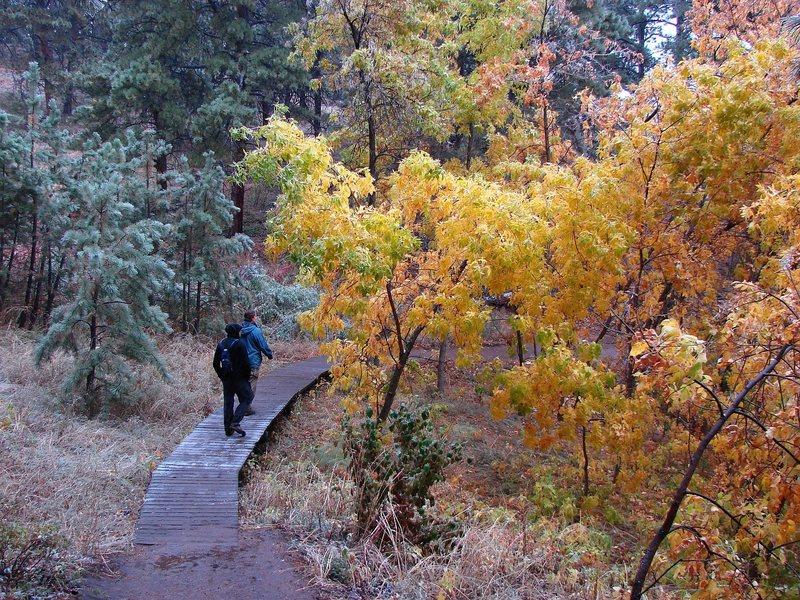 Hiking around the Flatirons in the freezing rain, October '09.