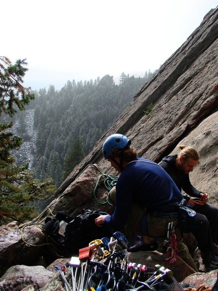 Rock Climbing Photo: SteveZ and Jay racking up for the Third Std route....