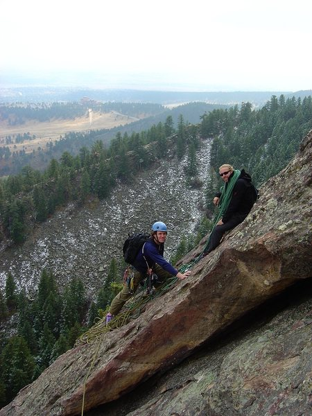 SteveZ and Jay at the 1st belay on a cold October day.