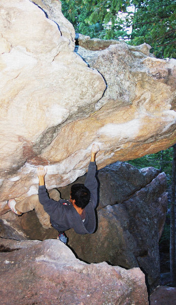 Trying to avoid hitting the rock seems to be the crux other than that fun problem with good moves!