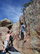 Rock Climbing Photo: Tyson H. preparing for the crux, pulling off a two...