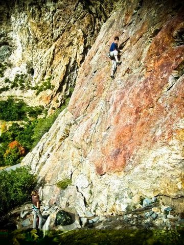 Rock Climbing Photo: Leading Red Slab
