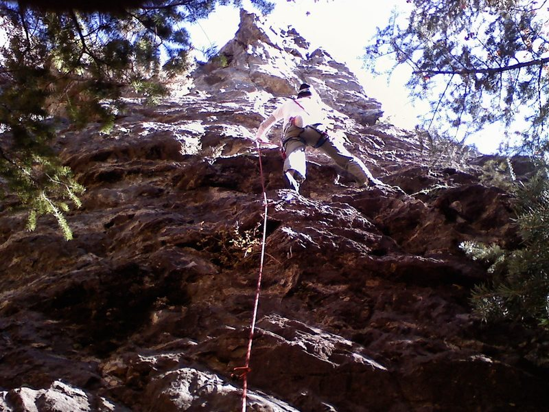 Rock Climbing Photo: jill on small fry. her first lead:)