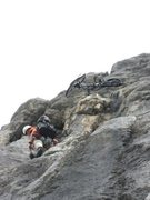 Rock Climbing Photo: Here is the crux, gaining the handlebars (ha ha no...