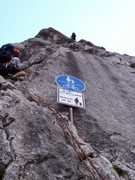 Rock Climbing Photo: The roadsign where the route begins.