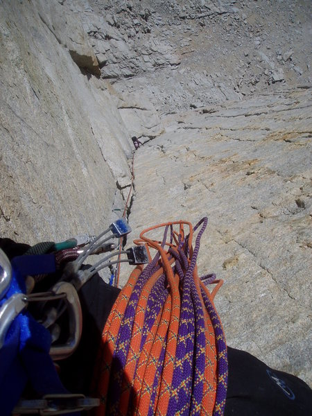 Rock Climbing Photo: Troutman following p3 of the Mithral Dihedral