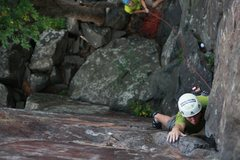 Rock Climbing Photo: andrew getting to the roof  Photo:Taylor Krosbakke...