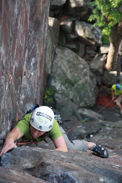 Rock Climbing Photo: Andrew leading inside corner Poto: Taylor Krosbakk...