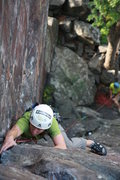 Rock Climbing Photo: Andrew leading inside corner Poto: Taylor Krosbakk...