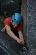 Rock Climbing Photo: post crux, placing some pro Photo:Taylor Krosbakke...