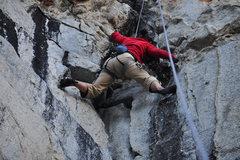 Rock Climbing Photo: Stemming below the final overhang.