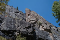 Rock Climbing Photo: The climb goes up the south face just left of the ...